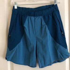 "Small lululemon 7"" liner less shorts"